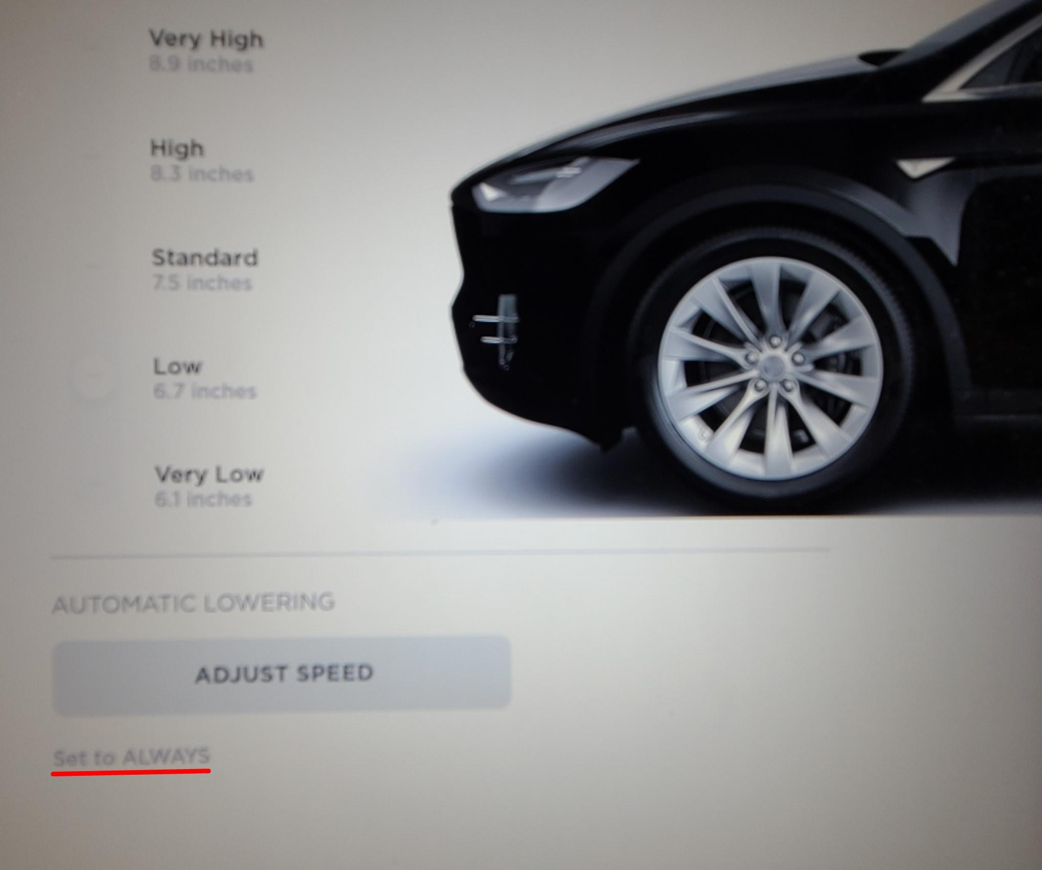 Tesla X monitor, software set to always low