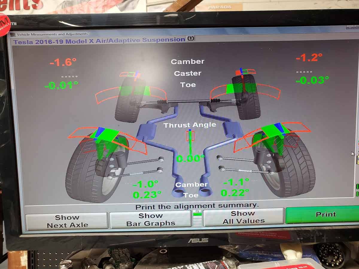Tesla Model X during alignment process