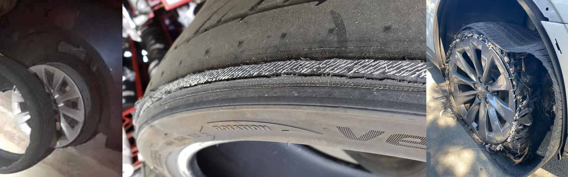 Tesla X and S tire blowout images