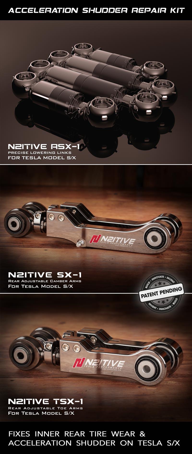 N2itive Acceleration Shudder Repair Kit For Tesla S/X - Black