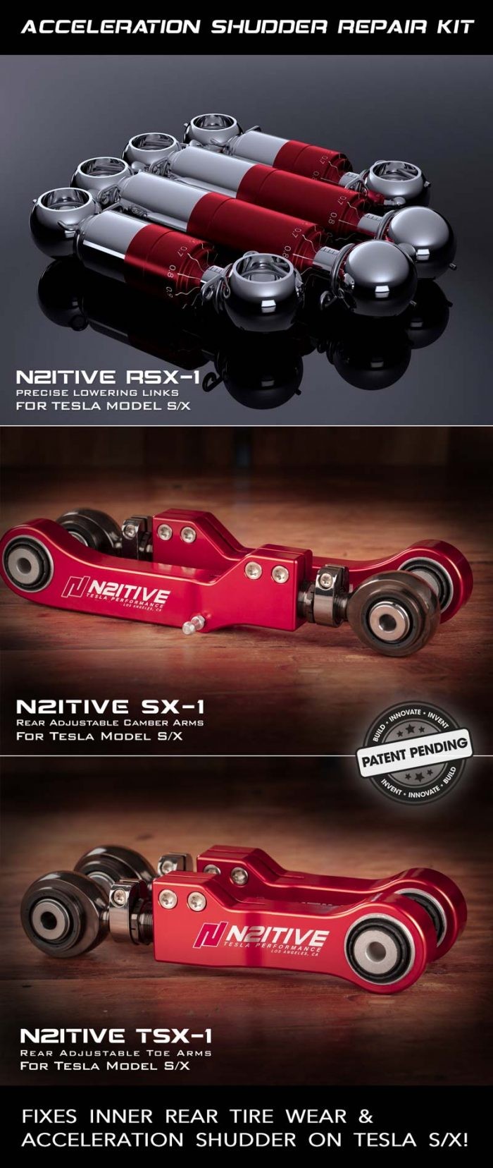 N2itive's Acceleration Shudder Repair Kit For Tesla S and X. Also Eliminates The All Too Common Inner Rear Tire Wear.
