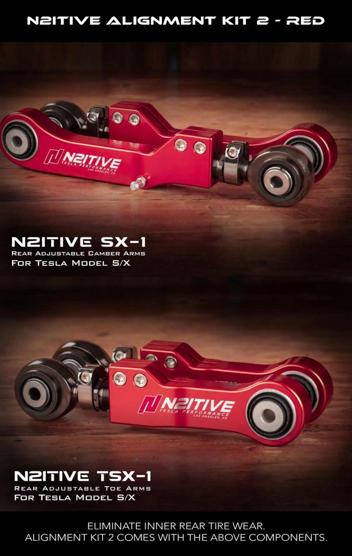 N2itive - Alignment Kit 2 comes with our adjustable SX-1 camber arms and TSX-1 toe arms for a perfect alingment and even tire wear