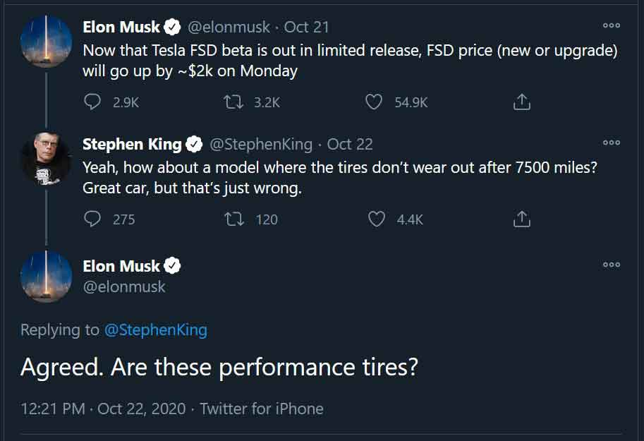 Stephen King's Tesla Tires Wear Out.